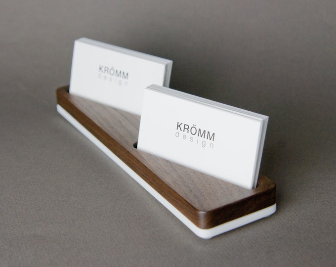 Wood Business Card Stand for MOO Horizontal Cards placed at angle/ Wood Business Card Display / Walnut Wood Business Card Holder
