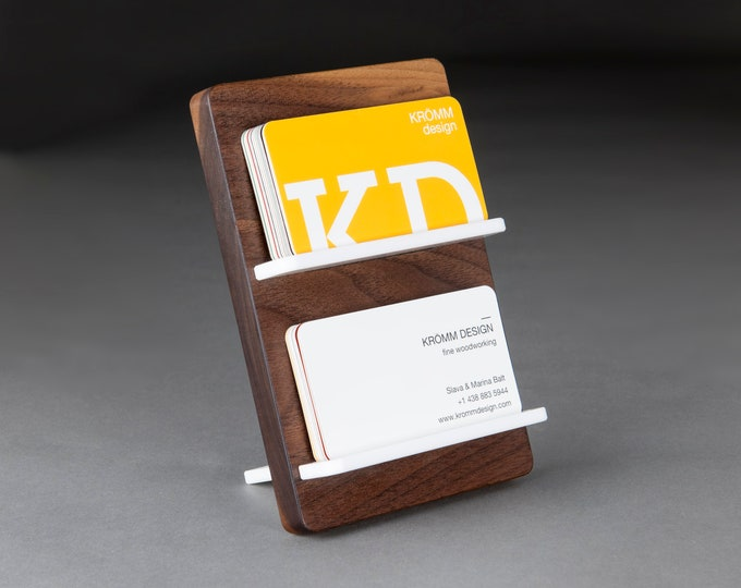 Two-Level Full-View Multiple Business Card Stand in Walnut Wood and White Acrylic / Multiple Business Card Display