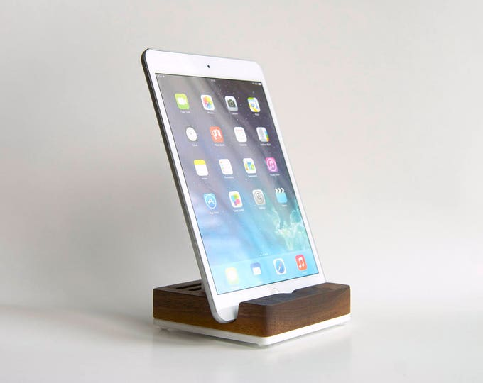 Personalized Wood iPad Stand / Wood Tablet Stand / Universal Docking Station for iPad, iPhone, smartphone, tablet - Solid Walnut Wood