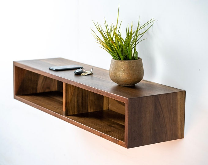Entryway Floating Console / Solid Wood Floating Media Organizer / Media Console / Media Stand / TV Stand