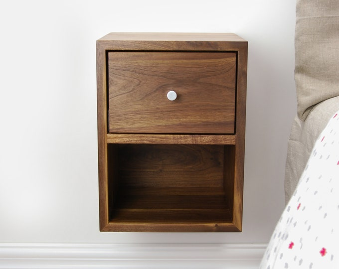Solid Walnut Wood Compact Floating Nightstand with Drawer and Open Shelf / Wood Hanging Bedside Table / Scandinavian / Mid-century / Modern