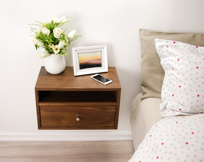 Floating Nightstand With Drawer And Open Shelf / Walnut Wood Hanging  Bedside Table / Scandinavian /