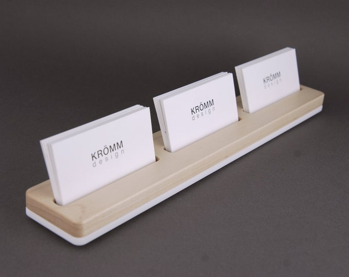 Sugar Maple Wood Business Card Stand / Three Business Card Stand / Wood Business Card Display / Maple Wood Business Card Holder