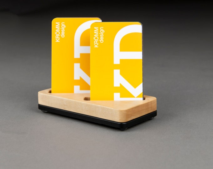 Wood Two-Card Stand for Vertical Business Cards or MOO cards / Maple Wood and Black Acrylic Business Card Holder