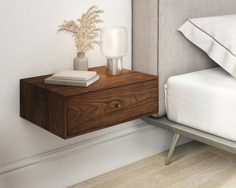 Solid Walnut Wood Floating Nightstand with Drawer / Walnut image 0