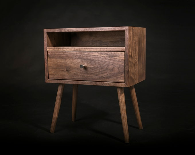 Mid century Nightstand with Open Shelf and Drawer / Solid Walnut Wood Bedside Table