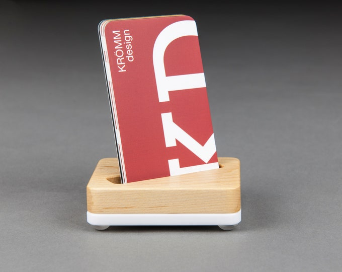 Angle Slot Tiny Maple Wood and White Base Stand for Portrait Business Cards/ Vertical Business Card Display / Single Card Stand