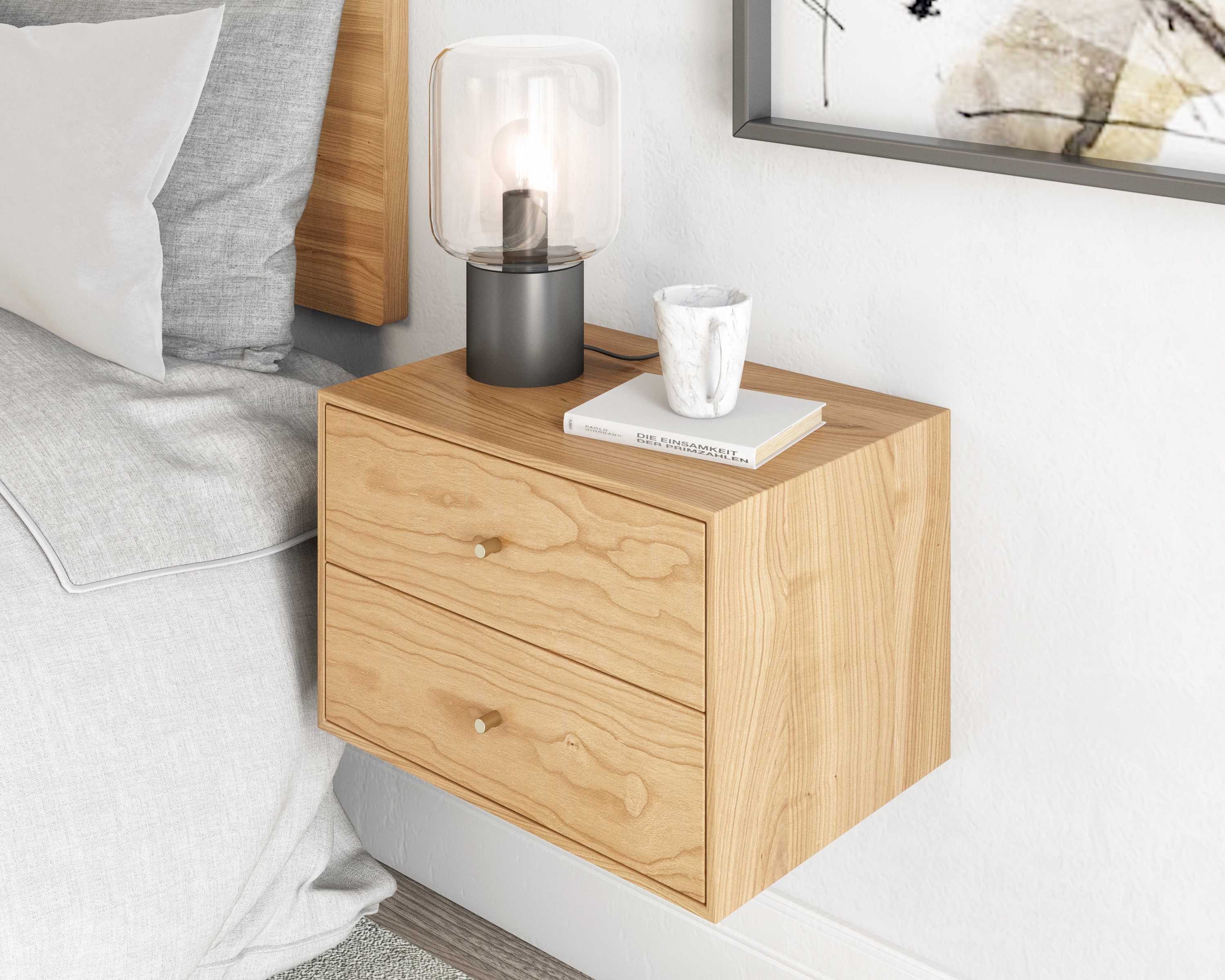 Floating Nightstand With 2 Drawers In Solid Cherry Mid Century Modern Bedside Table Minimalist