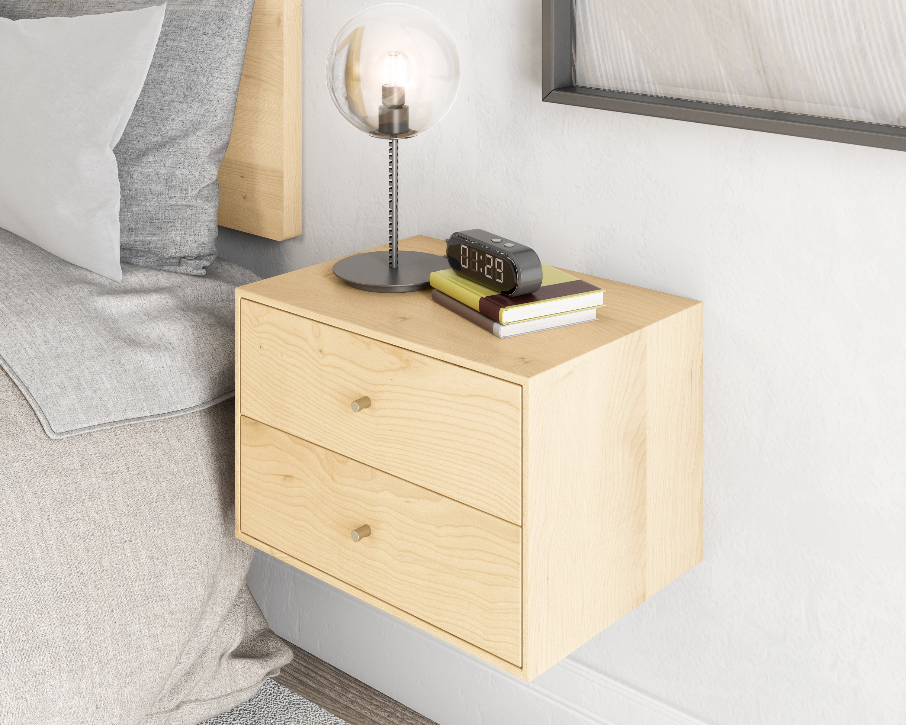 Floating Nightstand With 2 Drawers In Solid Sugar Maple Mid Century Modern Bedside Table Minimalist