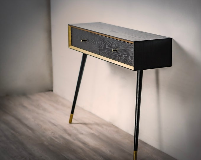 Solid Wood Console Table, Entryway MCM Black and Gold Console, Black Ash Mid-century Modern