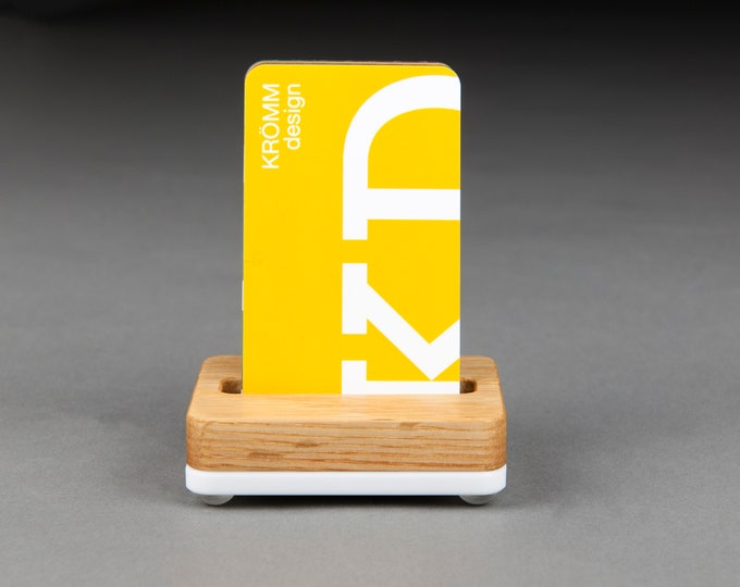 Tiny Oak Wood and White Base Stand for Portrait Business Cards/ Vertical Business Card Display / Single Card Stand