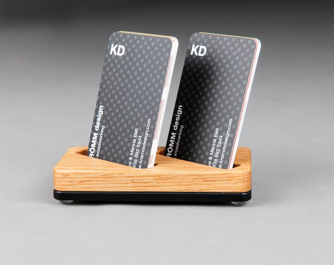 Wood Two-Card Stand for Vertical Business Cards or MOO cards / Oak Wood and Black Acrylic Business Card Holder