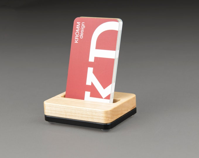 Tiny Maple Wood and Black Base Stand for Portrait Business Cards/ Vertical Business Card Display / Single Card Stand