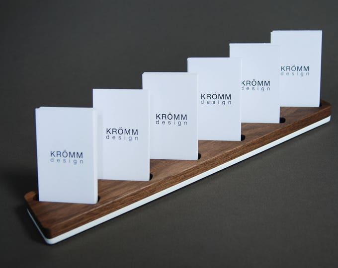 Multiple Vertical MOO Business Card Display / Walnut and Acrylic Vertical MOO Business Card Stand / Wood Vertical Card Holder