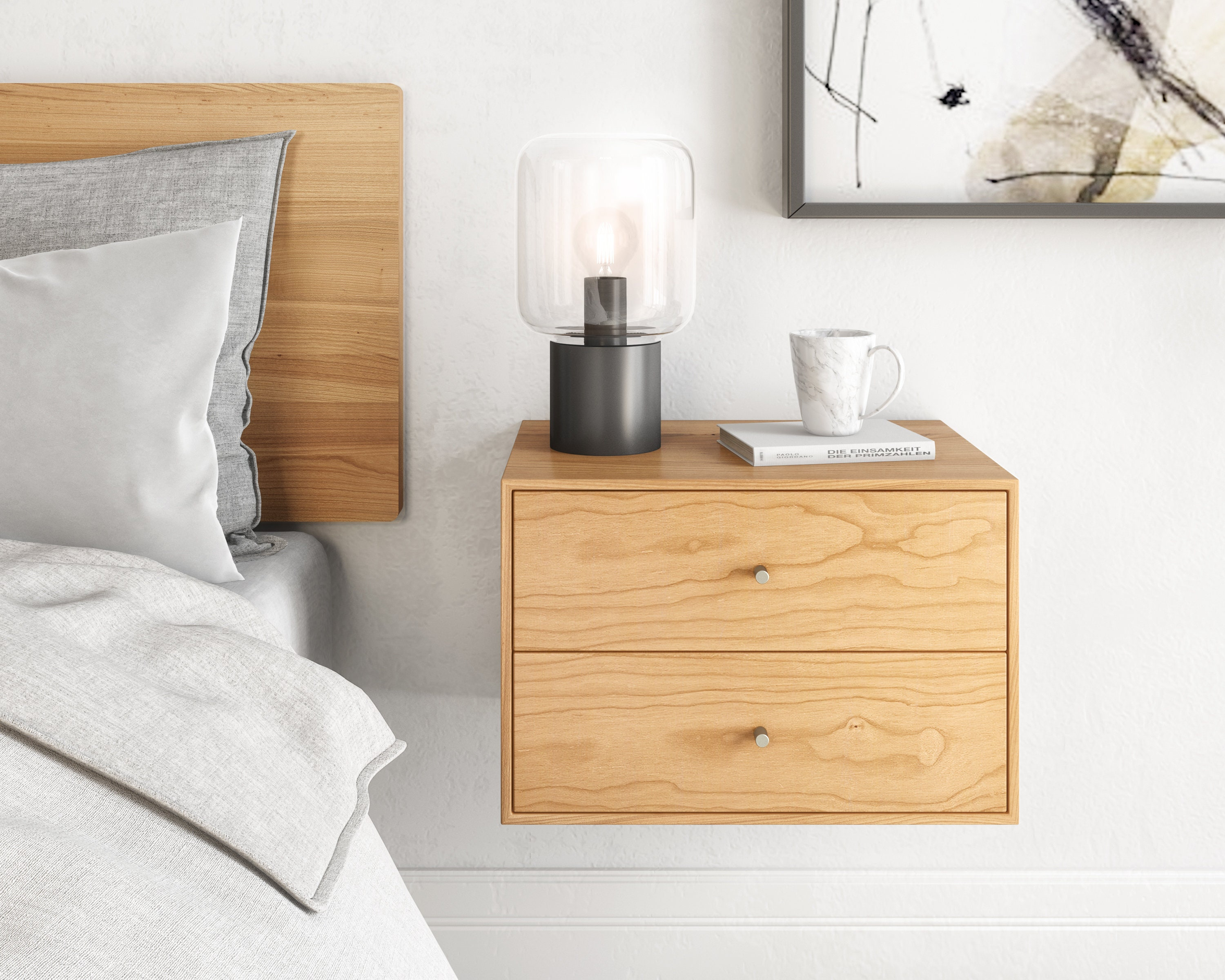 floating nightstand with 2 drawers in