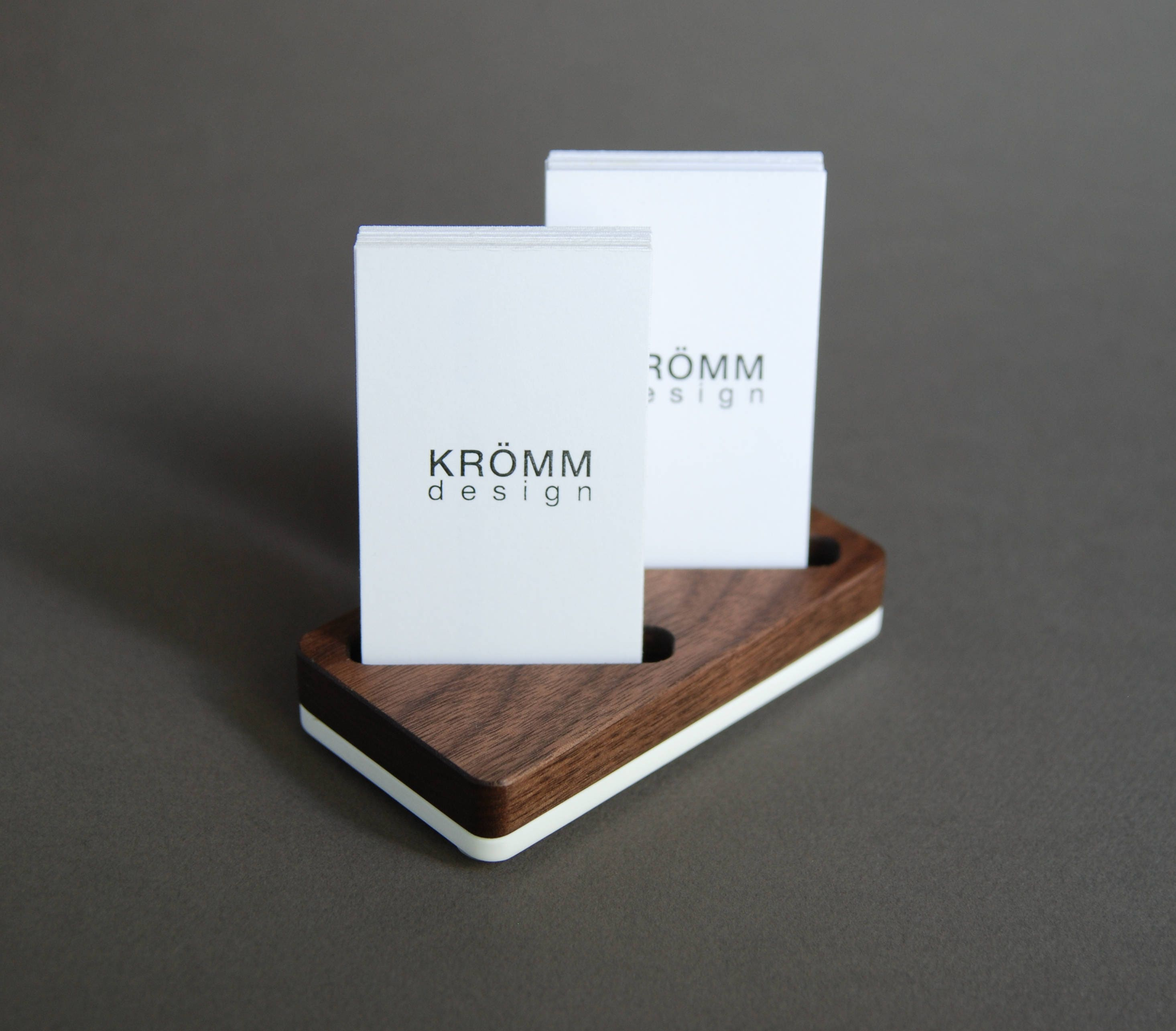 wood two card stand for vertical business cards or moo cards walnut wood and acrylic business card holder - Vertical Business Card Holder