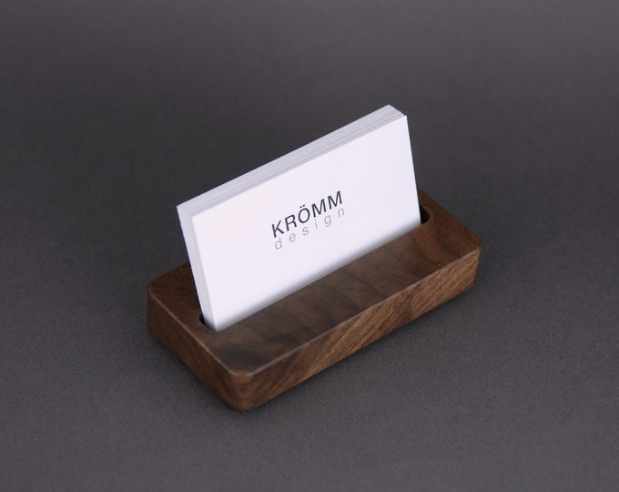 Wood Single Business Card Stand for Horizontal Landscape Cards / Walnut Wood MOO Card Stand