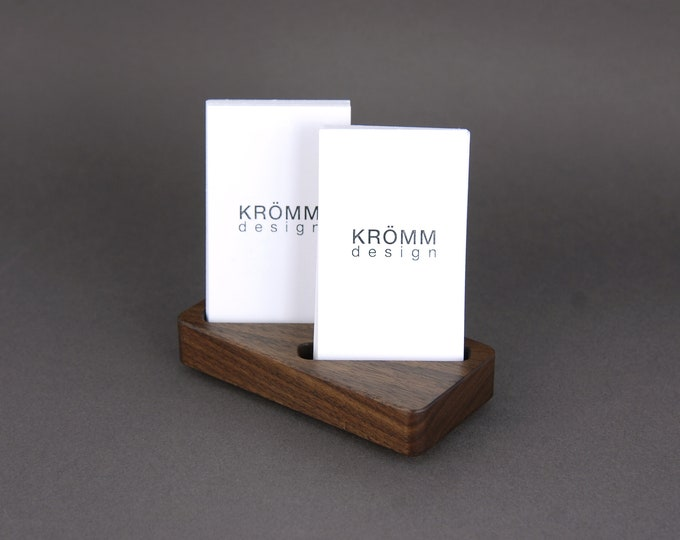 Wood Two-Card Stand for Vertical Business Cards or MOO cards / Walnut Wood Business Card Display