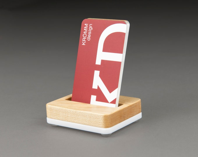 Tiny Maple Wood and White Base Stand for Portrait Business Cards/ Vertical Business Card Display / Single Card Stand