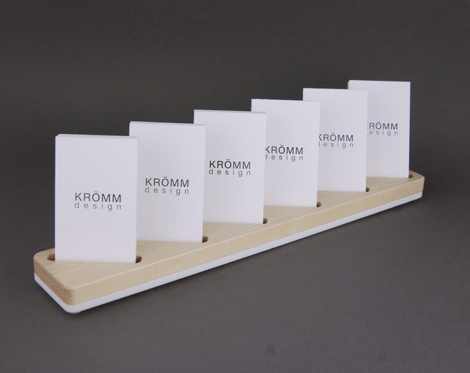 Multiple MOO Business Card Stand in Solid Maple Wood / 6 Vertical Business Card Stand in Maple Wood and White Acrylic / Maple Card Display
