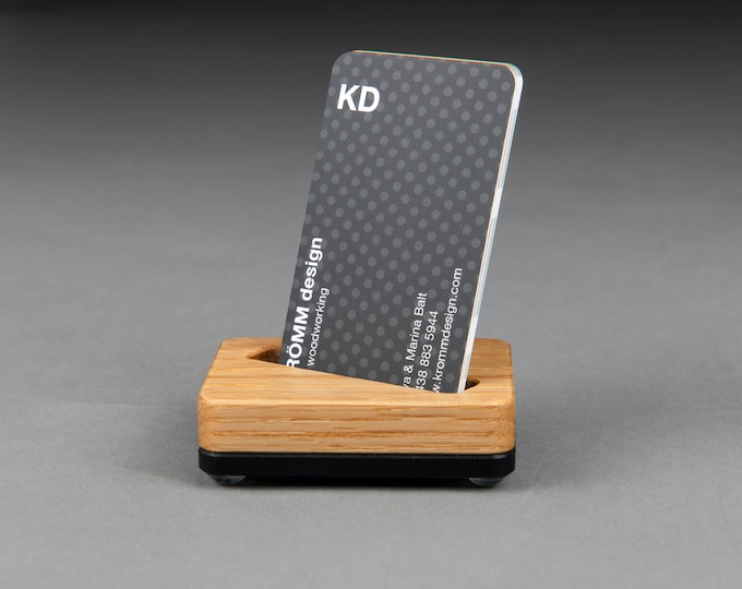 Angle Slot Tiny Oak Wood and Black Base Stand for MOO Portrait Business Cards/ Vertical Business Card Display / Single Card Stand