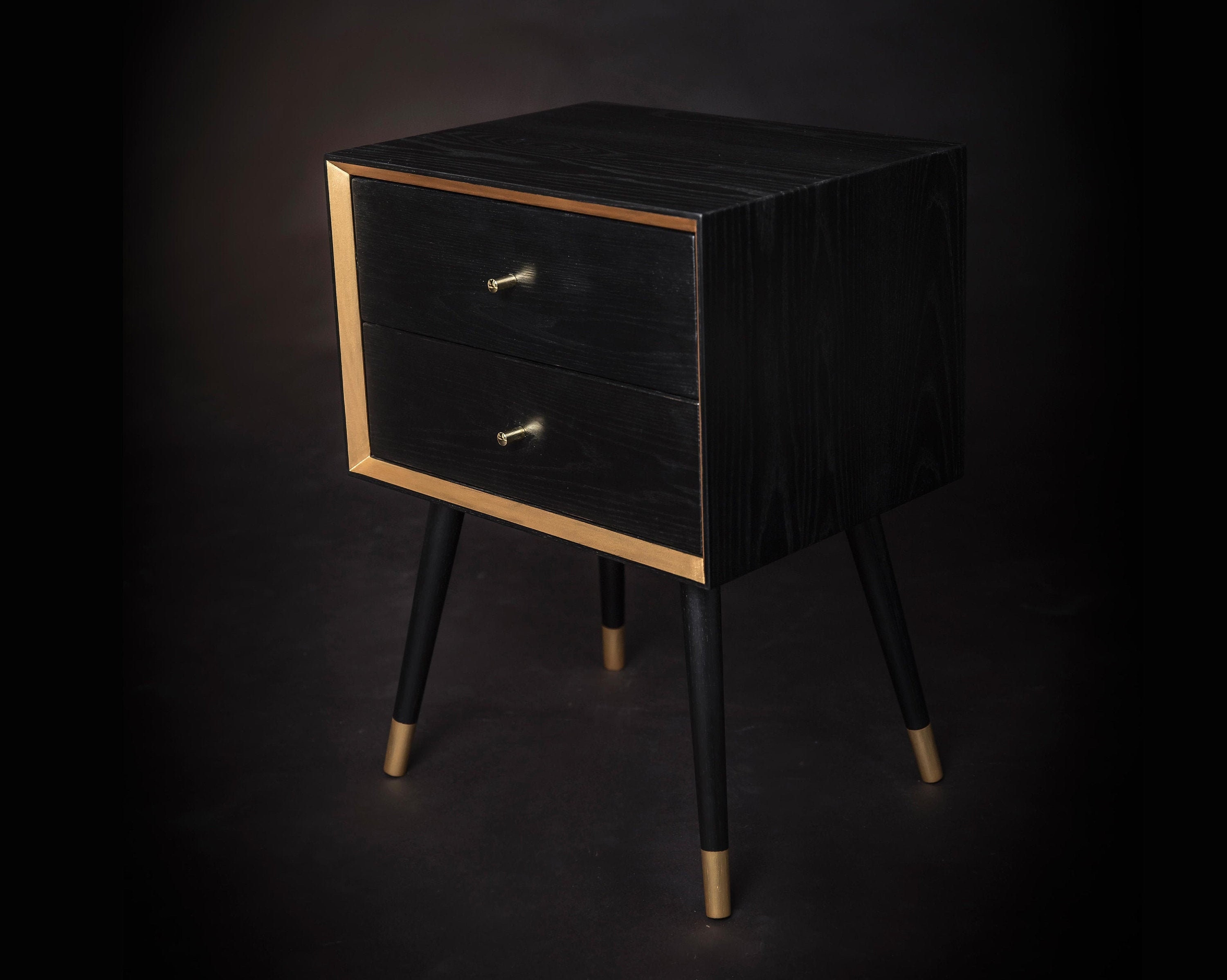 Solid Oak Wood Mid Century Nightstand Black Bedside Table