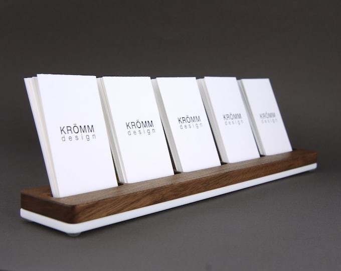 MOO Business Card Holder / Business Card Stand / Business Card Display / Walnut Wood and Acrylic Card Holder