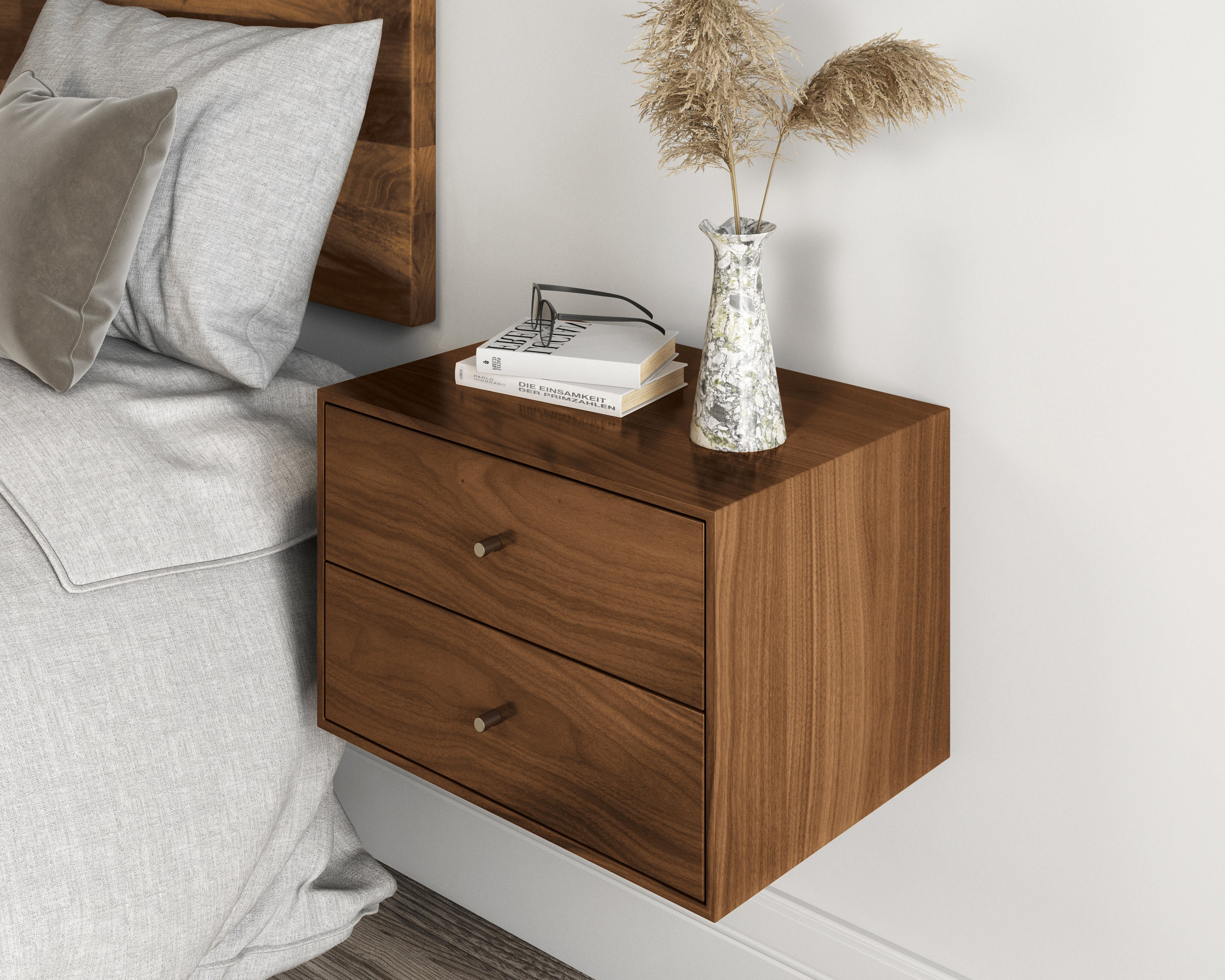 Picture of: Floating Nightstand With 2 Drawers In Solid Black Walnut Mid Century Modern Bedside Table Minimalist