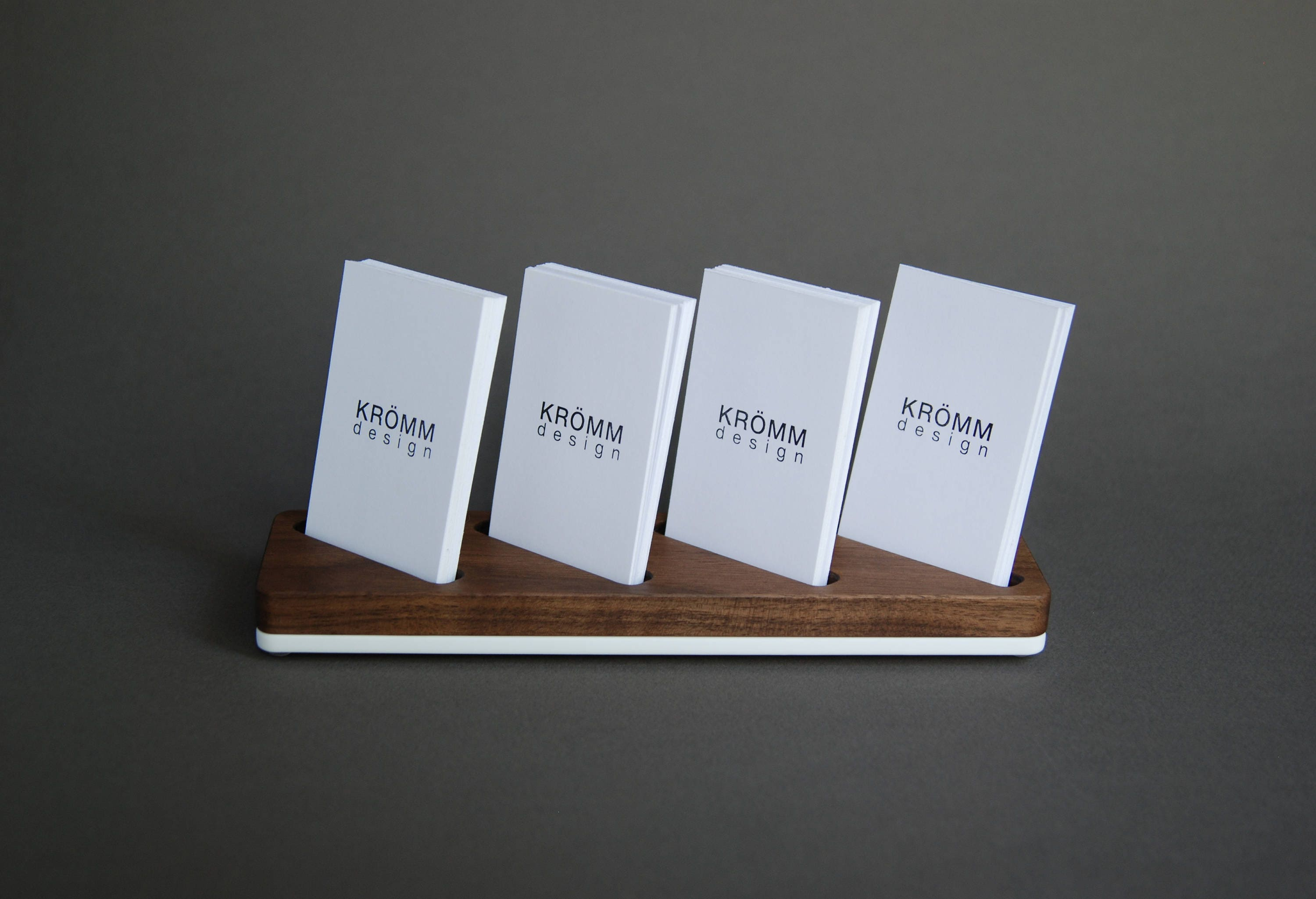 wood card stand for four vertical business cards walnut wood and acrylic card holder wooden vertical moo business card holder - Vertical Business Card Holder