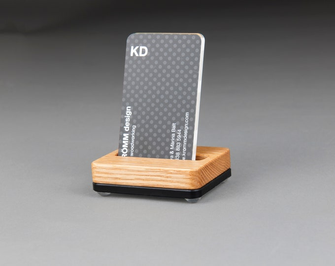Tiny Oak Wood and Black Base Stand for Portrait Business Cards/ Vertical Business Card Display / Single Card Stand