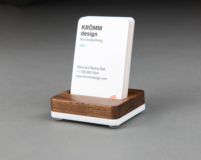 Tiny MOO Portrait Business Card Stand in Walnut Wood on White Acrylic Base / Vertical Business Card Display / Single Card Stand