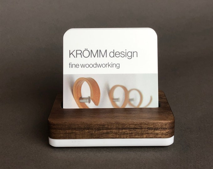 Square MOO Business Card Stand in Walnut Wood on White Acrylic Base