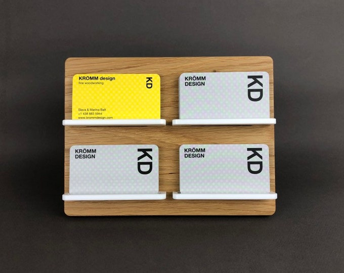 Two-Level Full-View Multiple MOO Business Card Stand in Oak Wood and White Acrylic / Multiple Business Card Display