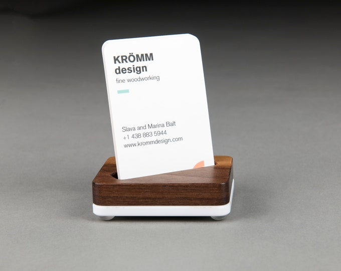 Angle Slot Tiny Walnut Wood and White Base Stand for Portrait Business Cards/ Vertical MOO Business Card Display / Single Card Stand