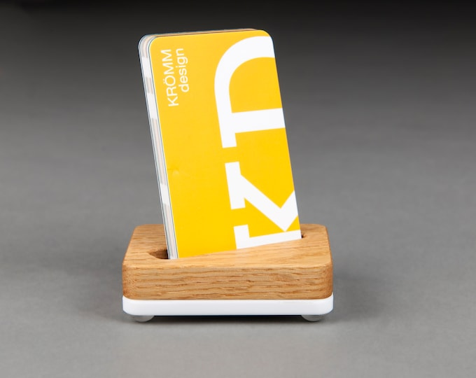 Angle Slot Tiny Oak Wood and White Base Stand for Portrait Business Cards/ Vertical Business Card Display / Single Card Stand