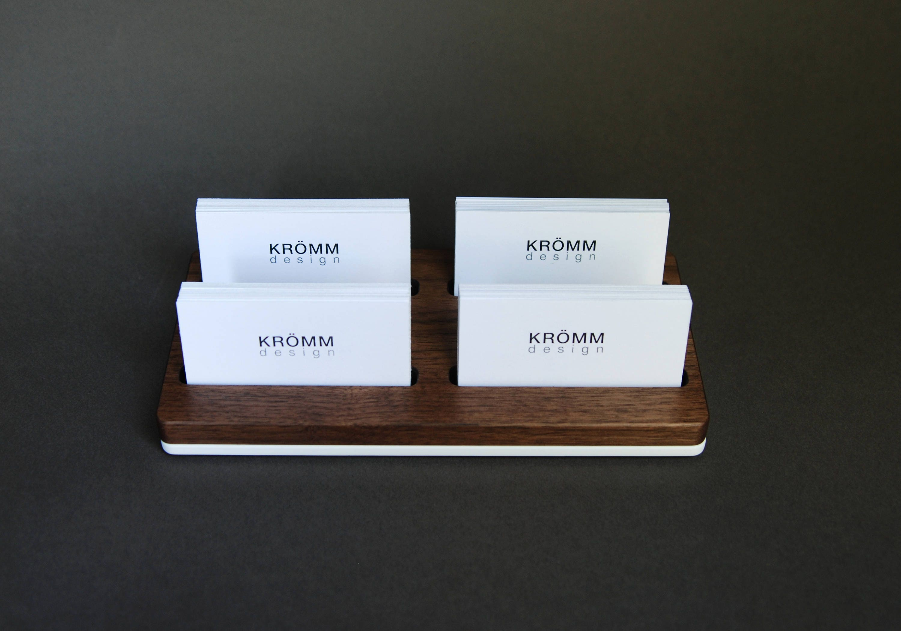 Wood two row business card holder for front desk wood business multiple business card display walnut wood card holder gallery photo gallery photo gallery photo gallery photo colourmoves