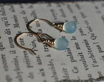 Gold Filled Blue Chalcedony Drop Earrings