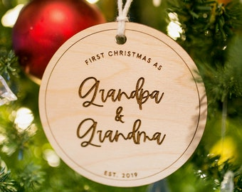 First Christmas as Grandparents Ornament — Personalized Ornament, Wooden Ornament, Holiday Ornament