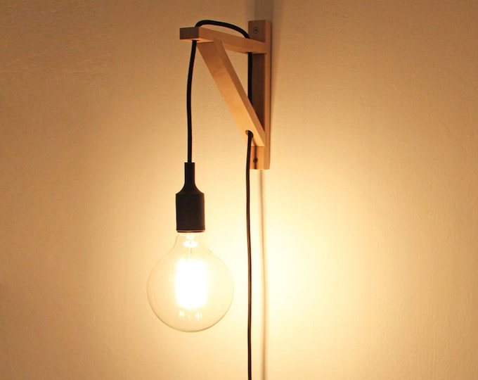 Wall sconce, Wall lamp, Plug in wall sconce, Nordic sconce, plug in sconce, wall light, wooden lamp, bracket sconce, Nordic lamp, wall light