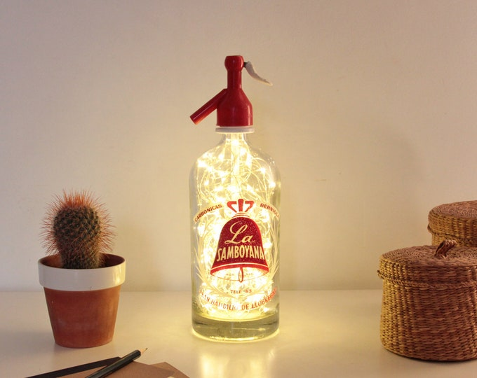 Siphon bottle lamp, Bottle soda, Siphon lamp, Vintage siphon lamp, Seltzer bottle lamp, Bottle lamp, Led lights bottle, Led lights siphon