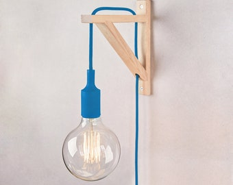 Plug in sconce, Plug in wall sconce, Wall lamp plug in , Wood sconce, Wall lamp, wall light, wooden lamp, sconce, classic blue, Nordic lamp