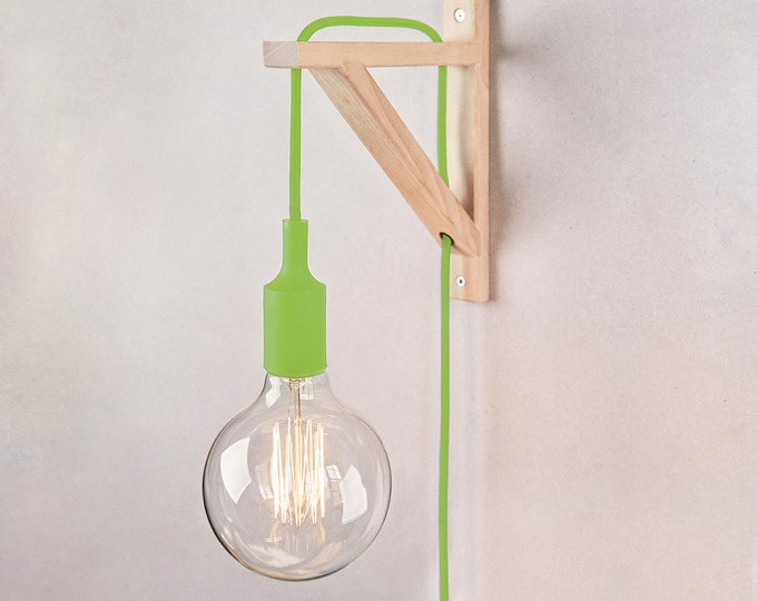 Plug in wall sconce, plug in wall light, nordic sconce, Wall lamp, plug in wall sconce, Wooden Lamp bracket, nordic lamp, boho lamp, sconce