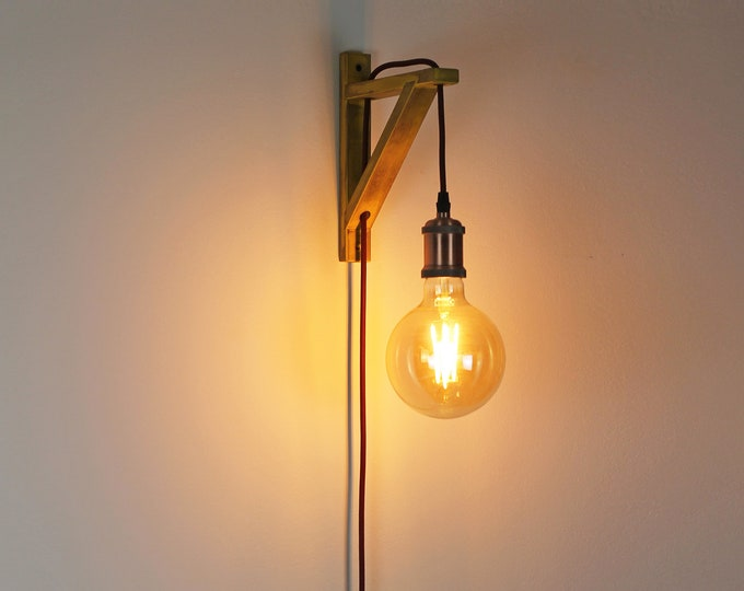 Plug in wall sconce, Plug in wall light, pendant light, Wall lamp plug in, Wall sconce wood, Plug in sconce, Bracket lamp, Nordic wall lamp