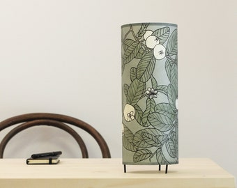 Table lamp grey, Table lamp green, Bedside lamp, Dorm lamp, Botanical lamp, Hand printed lampshade, Handpainted lampshade, Table lamp leafs