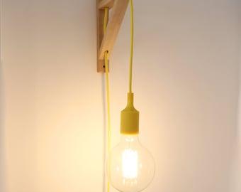 Plug in wall sconce, Plug in wall light, Wall sconce light, Nordic lamp, Wall lamp, wall light, wooden wall sconce plug in, Wood bracket