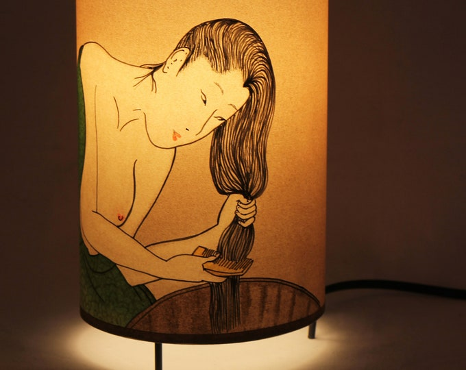 Japan lamp, Japanese lamp, Japanese table lamp, Japanese girl lamp, Japanese bedside lamp, japan gift, Lamp japan, Table lamps,Japanese lamp