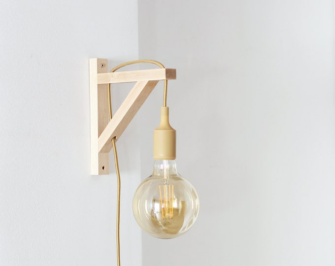 Bracket sconce, Wall lamp, Plug in wall sconce, plug in wall light , nordic sconce, Wooden Lamp bracket, nordic lamp, simple sconce wood