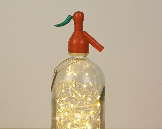 Siphon bottle lamp, Bottle soda, Siphon lamp, Vintage siphon lamp, Seltzer bottle lamp, Bottle lamp, Led lights bottle, Led lights siphon