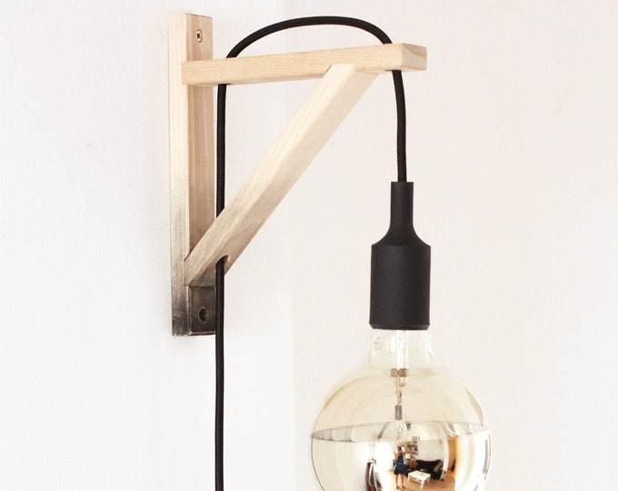 Wall lamp, Plug in wall sconce, plug in wall light , nordic sconce, wall sconce grey dégradé, Wooden Lamp bracket, nordic lamp minimal