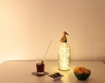 Sifon lamp, Vintage lamp, light sifon, light bottel, bottle lamp, led lights lamp, led lights bottle, led lights sifon, soda bottle lamp,